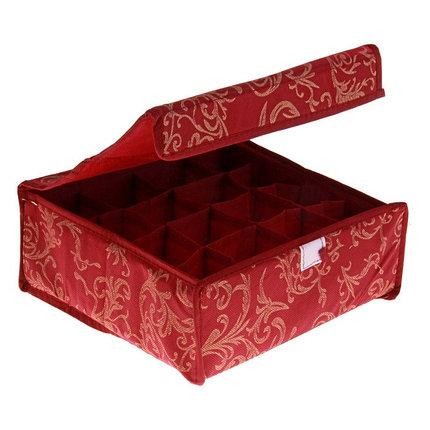 """Органайзер для белья с крышкой, 16 ячеек, 30х30х10 см, """"Бордо"""", цвет бордовый, фото 2"""