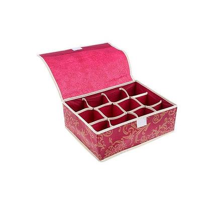 """Органайзер для белья с крышкой, 16 ячеек, 30х30х10 см, """"Бордо"""", цвет бордовый Органайзер для белья с крышкой, 12 отделений, 32х22х10 см, цвет бордовый, фото 2"""