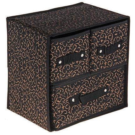 """Короб, 2 выдвижных ящика (4 и 9 ячеек) 30х30х23 см """"Роскошь"""", цвет чёрно-золотой, фото 2"""