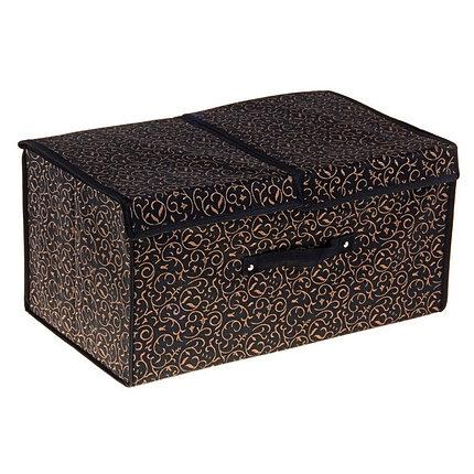 """Короб для хранения с двойной крышкой 50х30х25 см """"Роскошь"""", цвет чёрно-золотой, фото 2"""