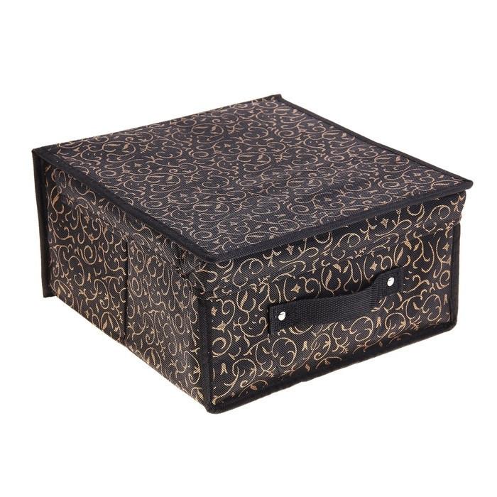 """Короб для хранения с крышкой 30х28х15 см """"Роскошь"""", цвет чёрно-золотой"""