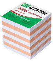 Блок для записей СТАММ 2-х цветный белый/персиковый 9х9х9 см