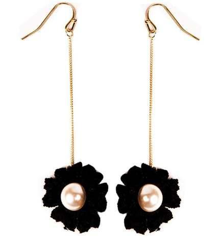 Серьги-цепочки с подвеской «Flowers» (Черный) - фото 1