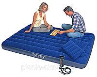 Надувной матрас Intex с двумя подушками и насосом, фото 1