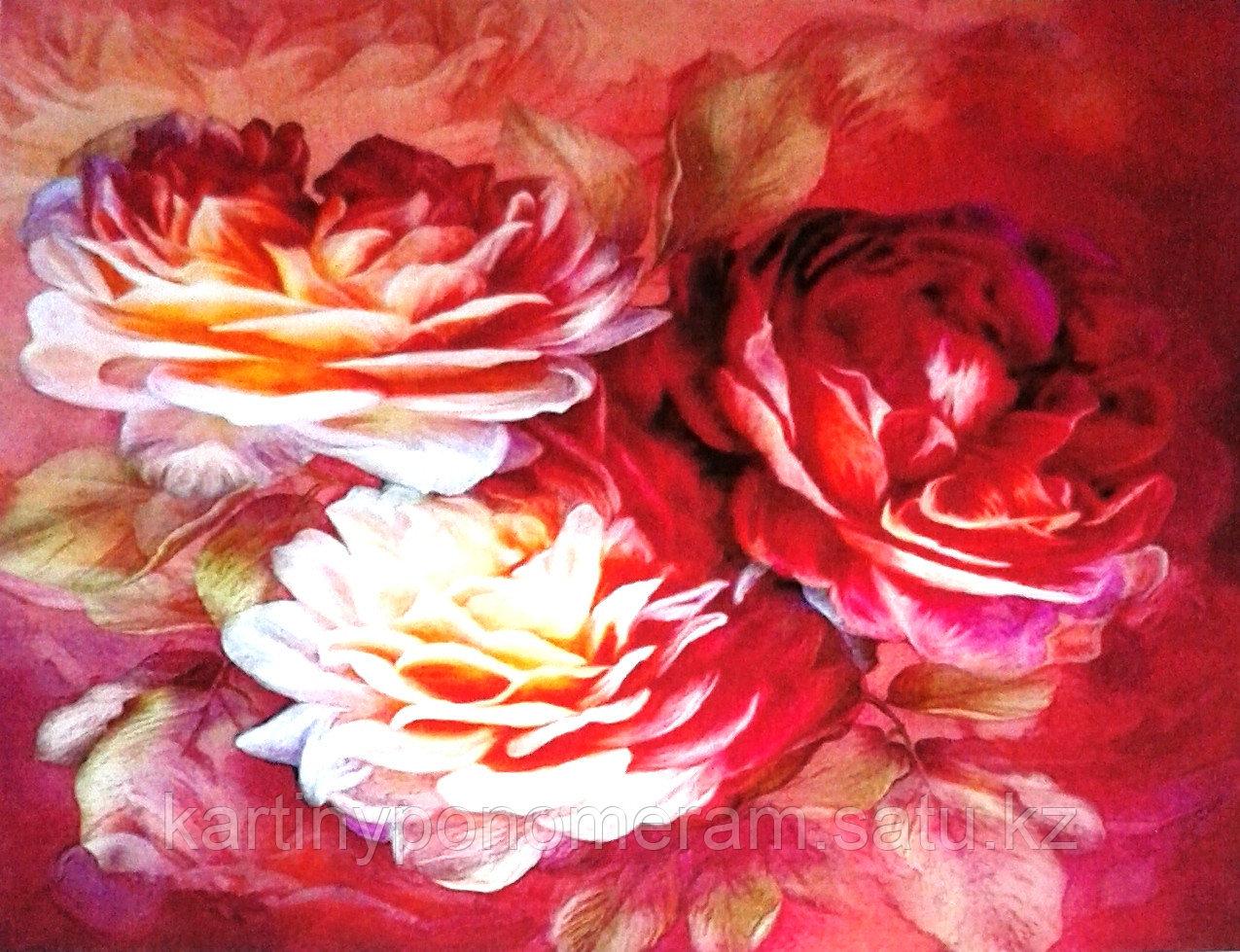 """Картина по номерам """"Три пышные розы"""""""