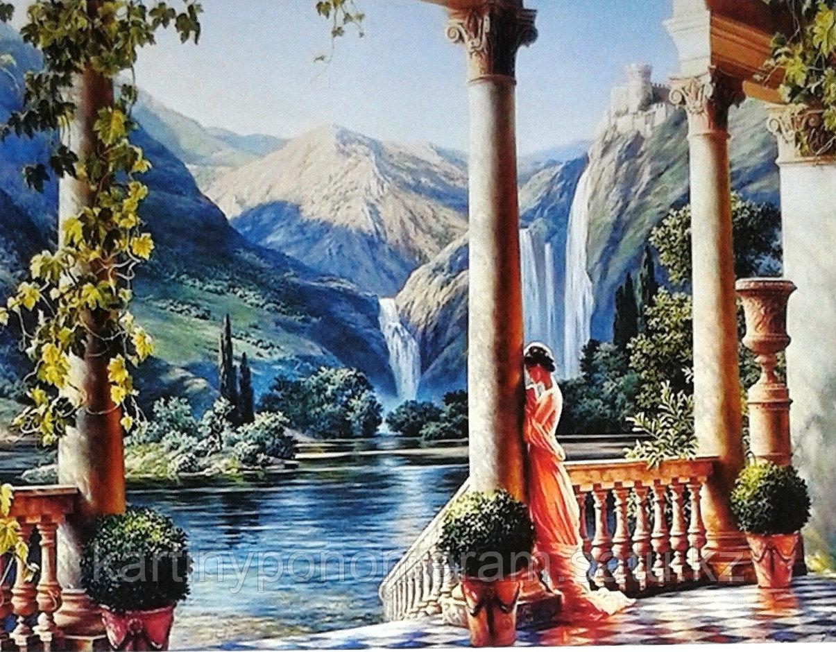 """Картина по номерам """"Девушка у водопада. М.Сатаров"""""""