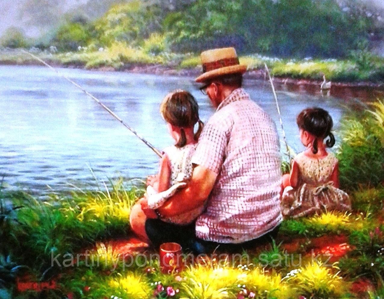 "Картина по номерам ""Дедушка с внучками"""