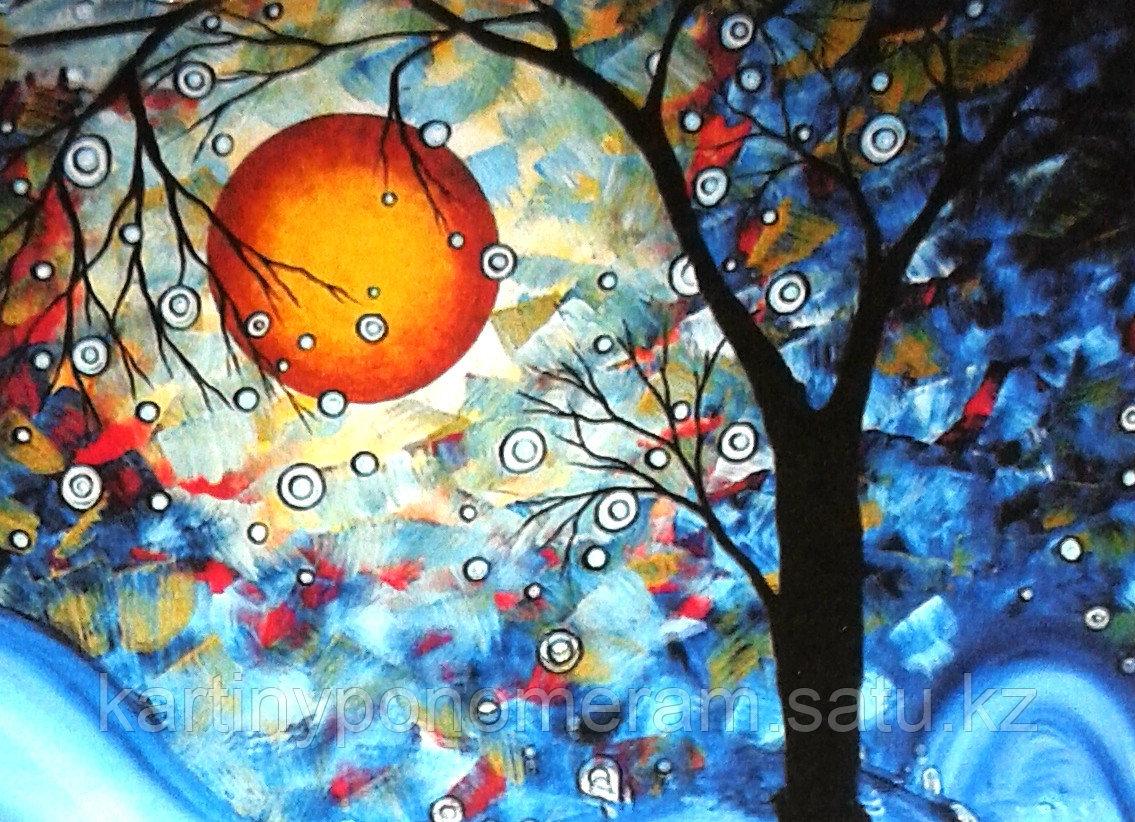 """Картина по номерам """"Зимняя ночь. Абстракция 30х40см"""""""