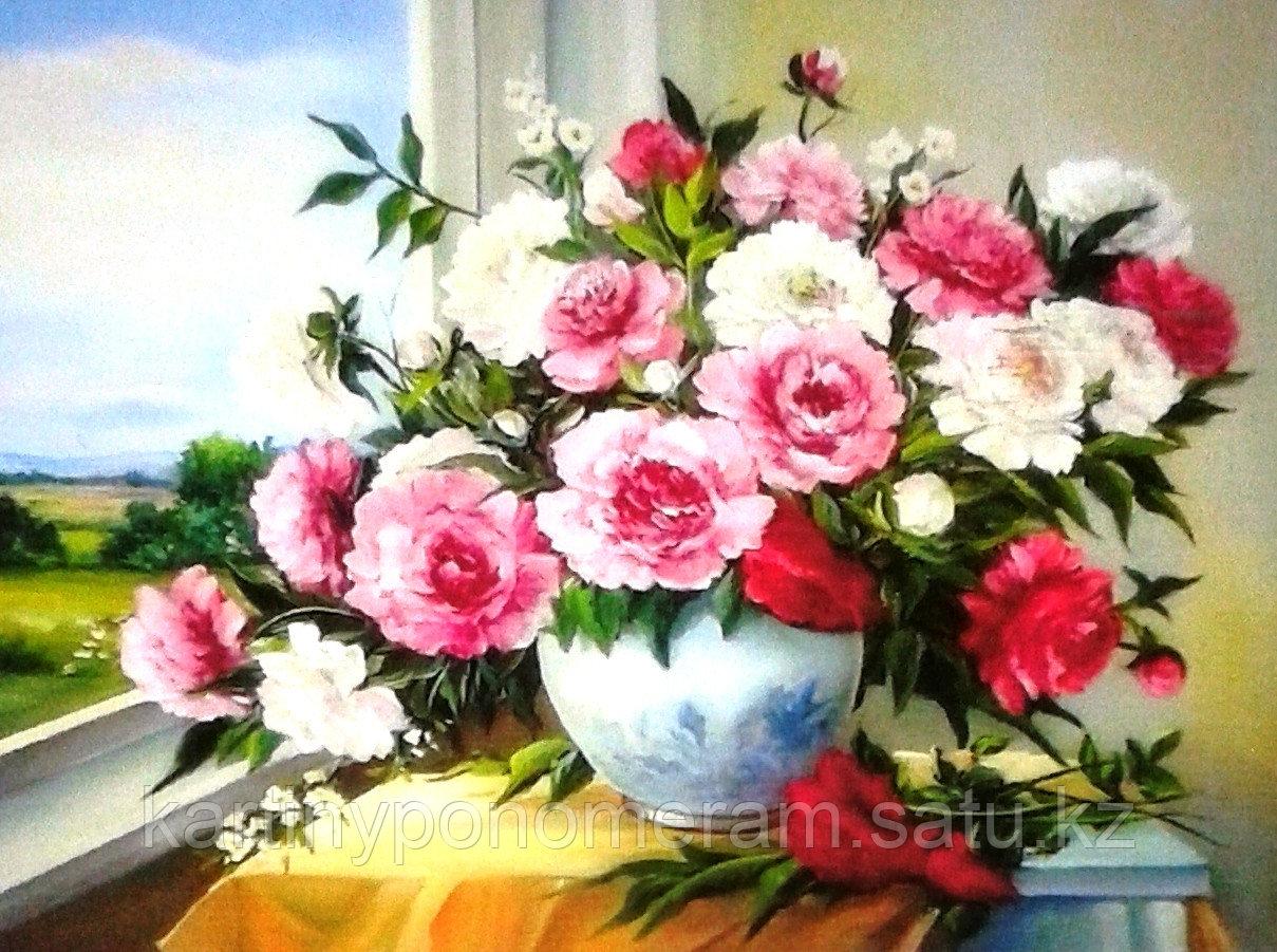 """Картина по номерам """"Пионы в белой вазе"""""""