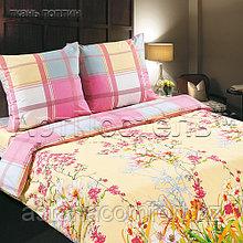 """Комплект постельного белья из поплина """"Утренний сад"""". Евро - размер, простынь на резинке."""