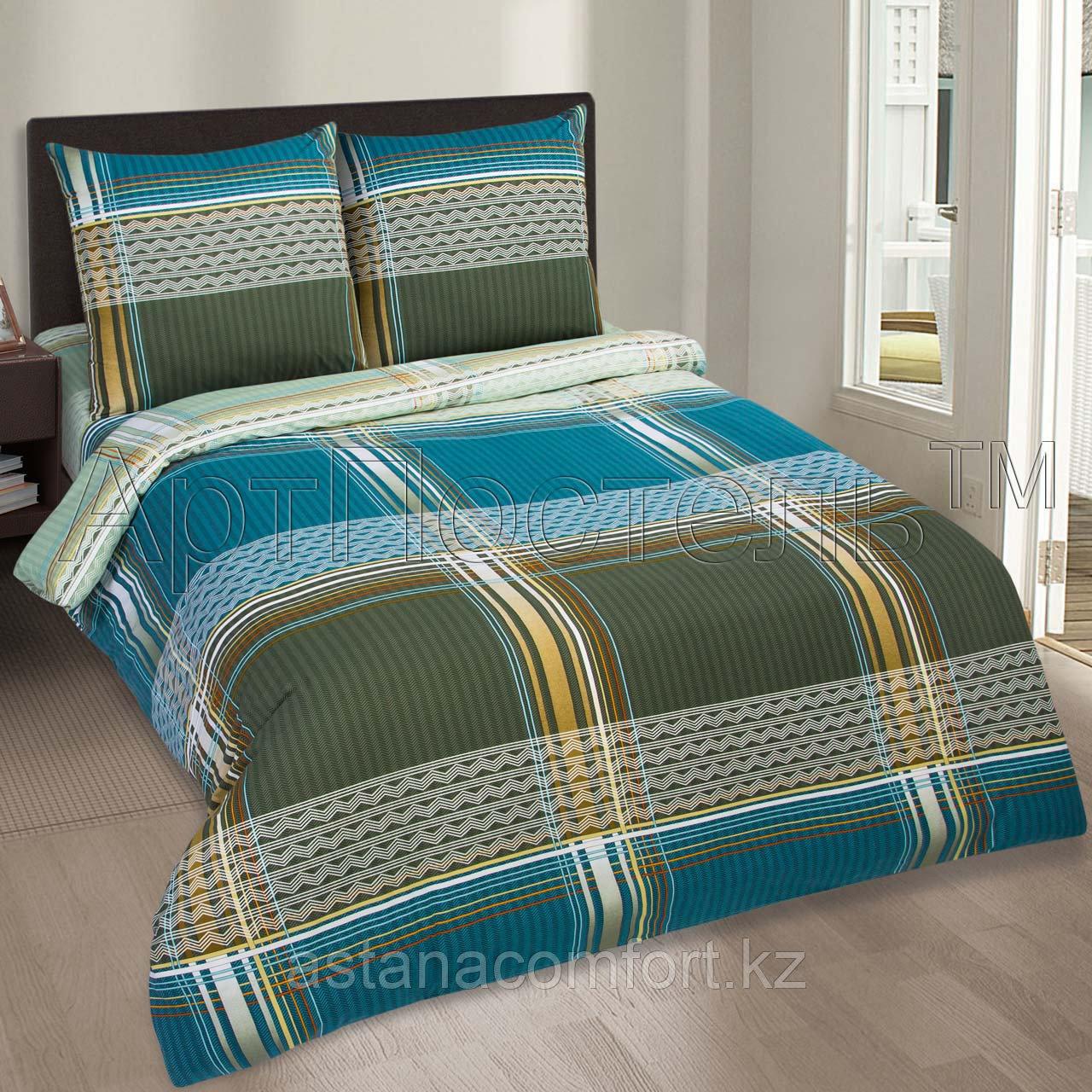 """Комплект постельного белья из поплина """"Авеню"""". Евро - размер, простынь на резинке."""