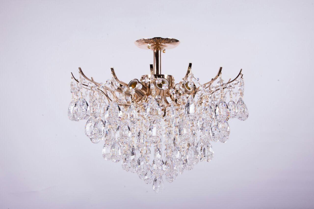 Хрустальная люстра золотая с белым/желтым большим камнем на 9 ламп