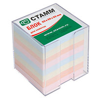 Блок для записей СТАММ, цветной в подставке 8х8х8 см