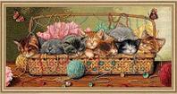 """Набор для вышивания крестом """"Новорожденные котята"""""""