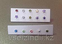 Серебряный пирсинг (гвоздики) с цветными камнями для носа