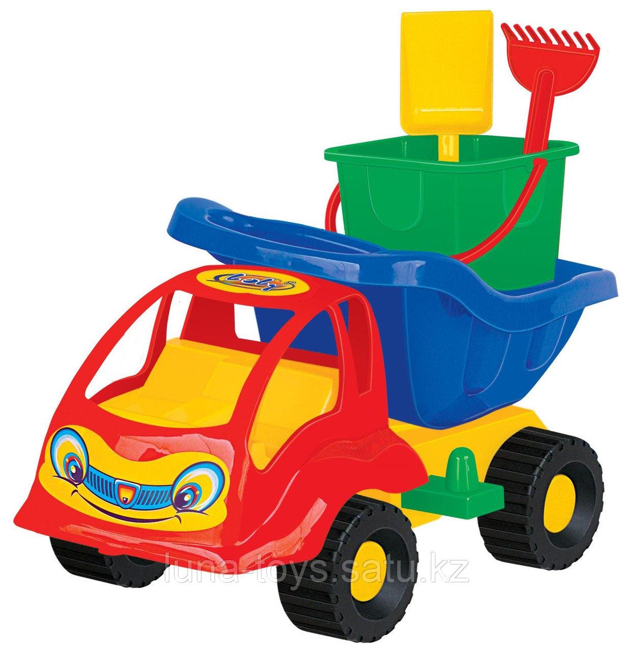 """Набор №56: """"Муравей"""", автомобиль-самосвал + ведро-крепость малое, лопатка малая №3, грабельки малые"""