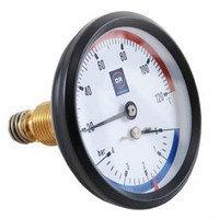 Термоманометр с задним подключением D80mm, 4 bar, 120*C Watts (Германия), фото 2