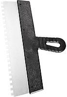 Шпатель из нержавеющей стали 150 мм зуб 10х10 мм пластмассовая ручка Сибртех 85480 (002)