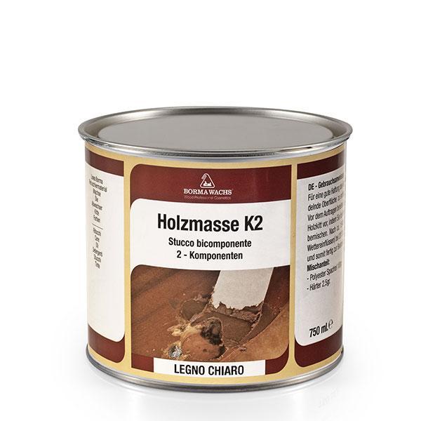 Шпаклёвка белая HOLZMASSE K2 transparent 2К, 750 мл