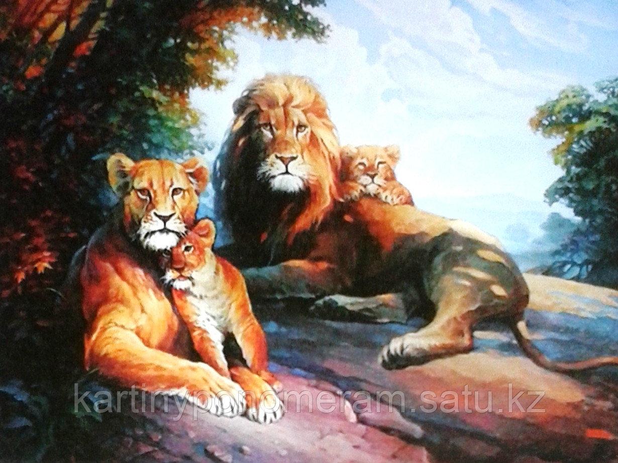 "Картина по номерам ""Львиное семейство"""