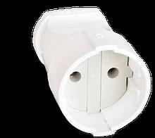 Штепсель 10А 250В  (АБС-пластик, белый)