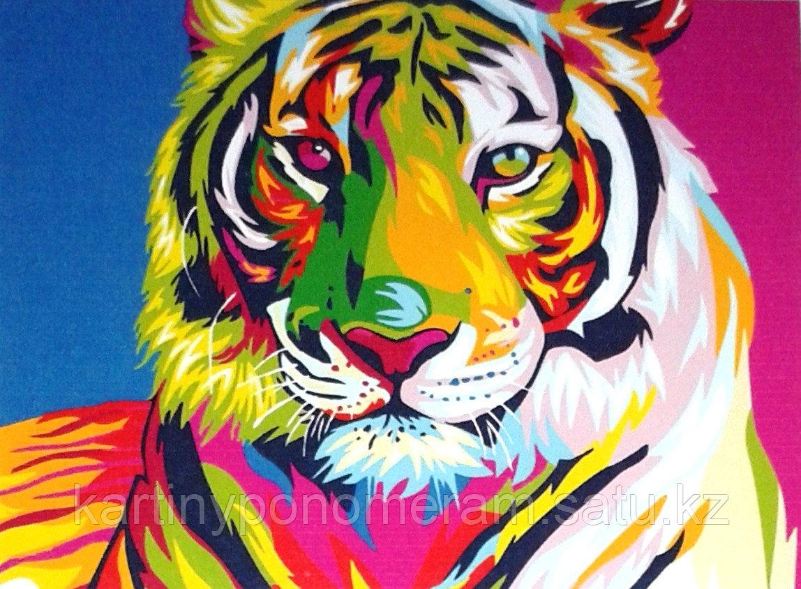 "Картины по номерам,  ""Тигр. Абстракция 30х40"""