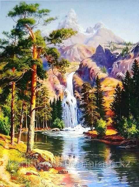 """Картины по номерам,  """"Сосны у водопада 30х40"""""""