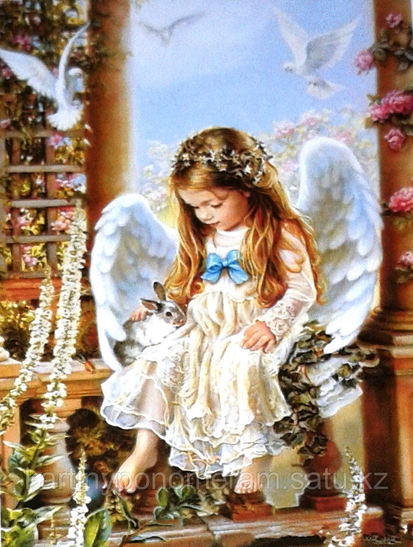 """Картины по номерам,  """"Ангел с кроликом 2. (30х40)"""""""