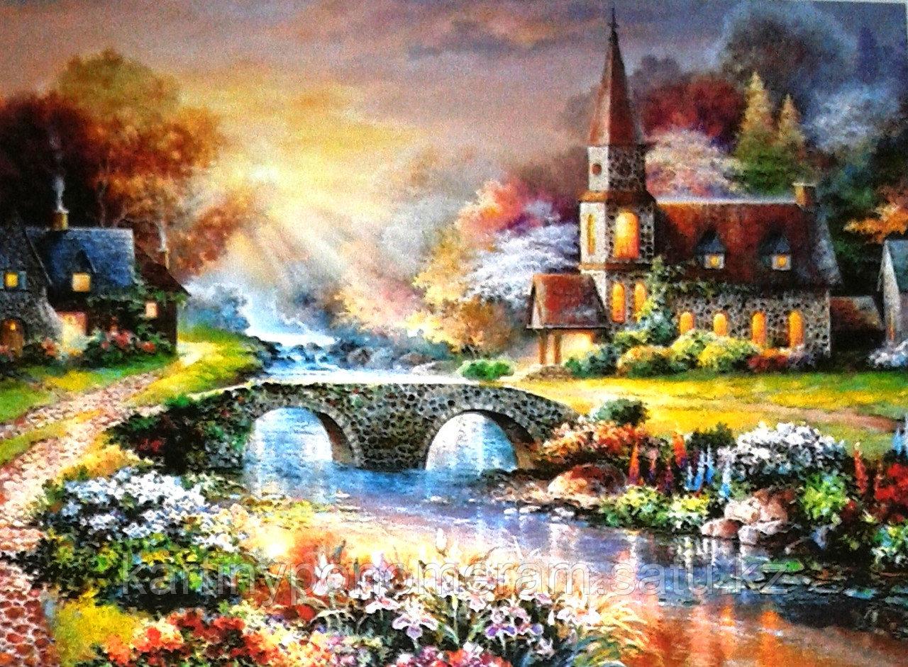 """Картины по номерам,  """"Мост в лучах солнца 30х40"""""""