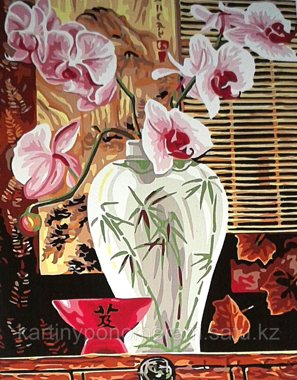"""Картины по номерам,  """"Розовые орхидеи 30х40"""""""