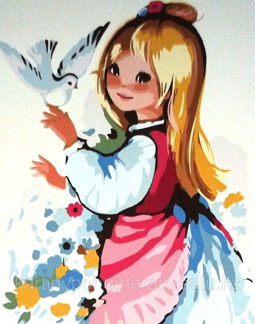 """Картины по номерам,  """"Принцесса с голубем 30х40"""""""