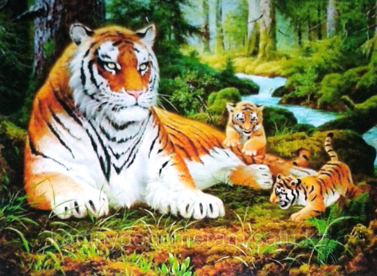 "Картины по номерам,  ""Тигрица с котятами 30х40"""