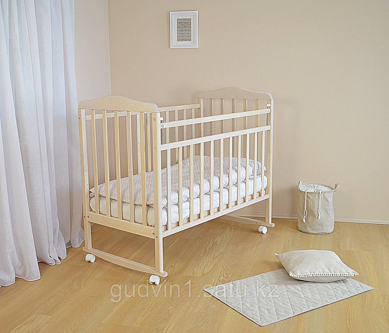 СКВ Кровать детская МИТЕНЬКА колеса качалка 160115 береза снежная
