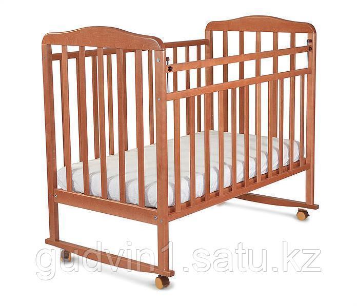 СКВ Кровать детская МИТЕНЬКА колеса качалка 160117 орех