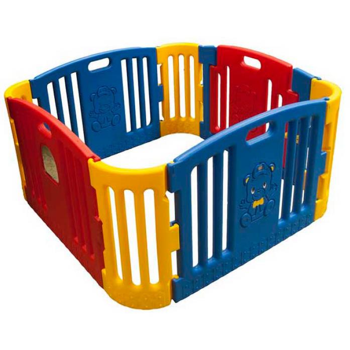 EDU PLAY Детский ограждение-манеж с музыкой син./крас./жел.(без шаров) (116х116х60h)