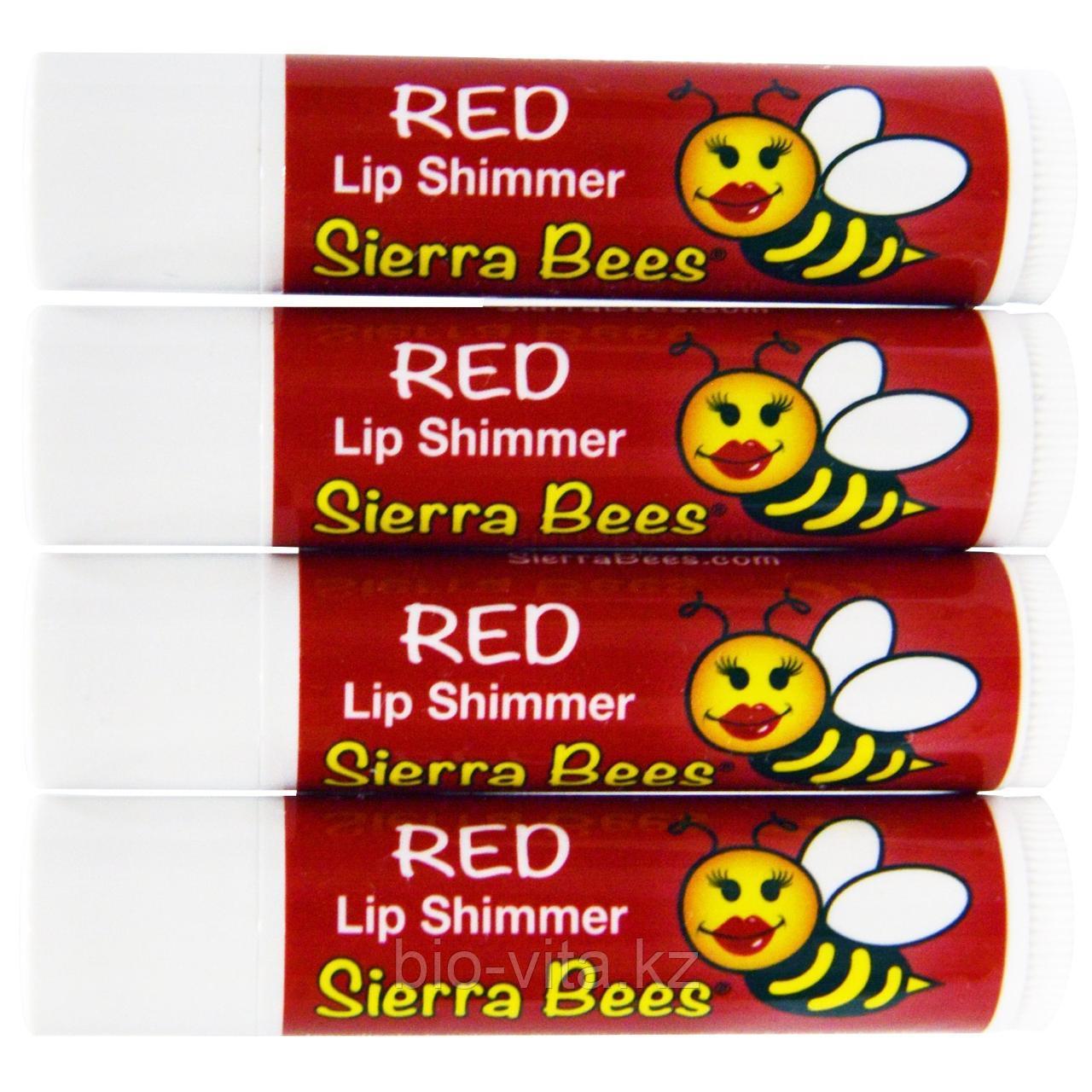 Sierra Bees, Тонированный бальзам-блеск для губ, Красный оттенок.1 шт.