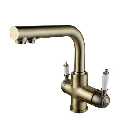 Смеситель встраиваемый Lemark Villa LM4861B для кухни, с подключением к фильтру питьевой воды, бронза (к/к 4)