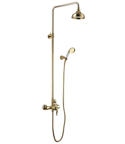 Смеситель для душа с верхней душевой лейкой Lemark Brava LM4760G, тропический дождь, золото