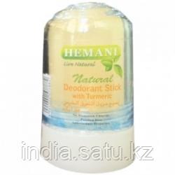Алунит Натуральный Дезодорант с Куркумой (Natural Deodorant Stick with Turmeric HEMANI), 70 гр