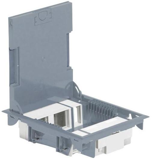 Legrand Напольная коробка, вертикальная, 10 модулей, крышка из стали с анти-коррозионным покрытием, цвет серый