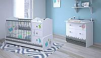 Кроватка-трансформер детская Polini Basic Монстрики белый