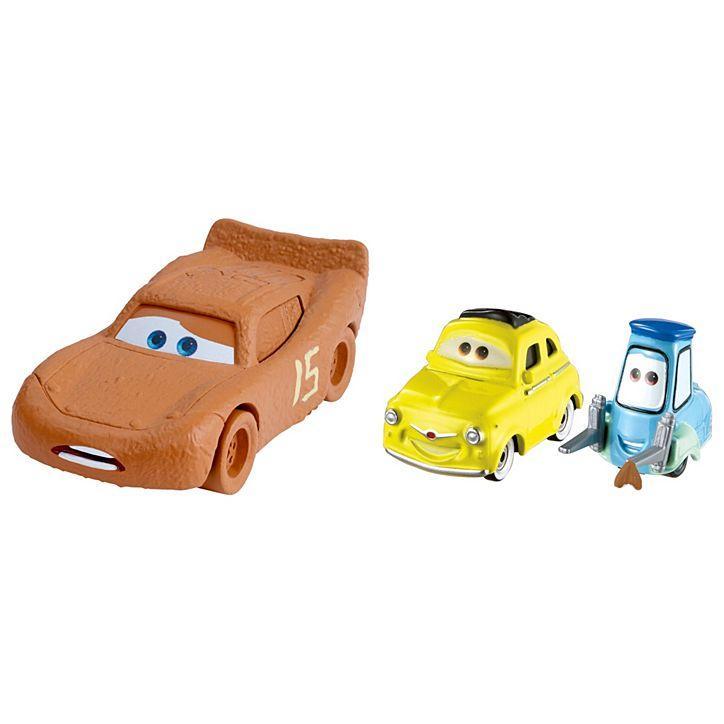 Машинки Cars 3 Молния МакКуин в роли Честера, Гвидо и Луиджи с тканью (2 шт.)