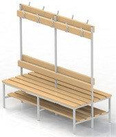 Скамейка для раздевалки с вешалкой, двухсторонняя