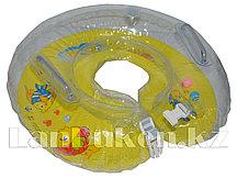 Детский круг с погремушкой для купания на шею (желтый)