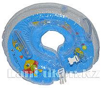 Детский круг с погремушкой для купания на шею (голубой)