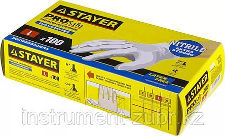 """Перчатки STAYER """"PROFI"""" нитриловые экстратонкие, M, 100шт                                                                                             , фото 2"""