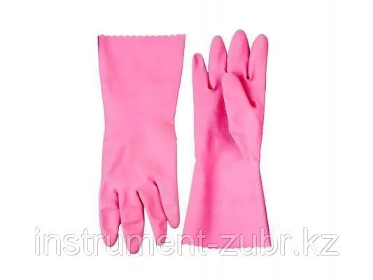 """Перчатки ЗУБР """"МАСТЕР"""" латексные, повышенной прочности, х/б напыление, рифлёные, 100% латекс, 100% хлопок, размер L"""