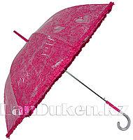 Кружевной женский зонт трость (розовый)