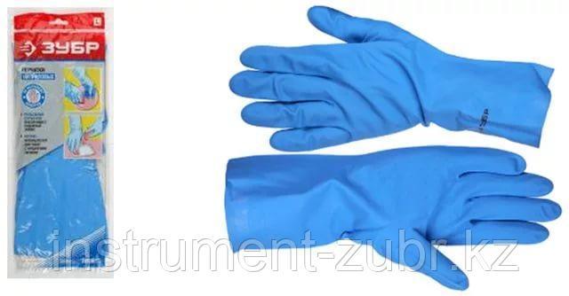 Перчатки ЗУБР нитриловые, повышенной прочности, с х/б напылением, размер L, фото 2