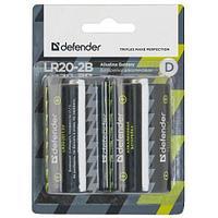 Элемент питания Defender LR20 D Alkaline LR 20 2 штуки в блистере